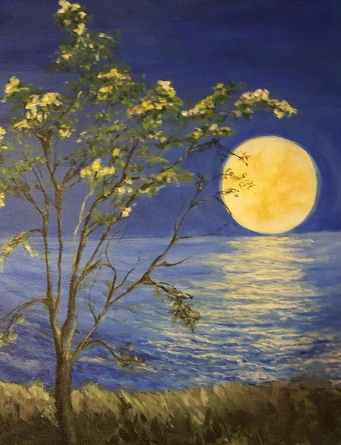 full moon on ocean